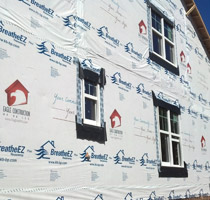 Customized house wrap advertising for custom home builders for Sheathing house wrap